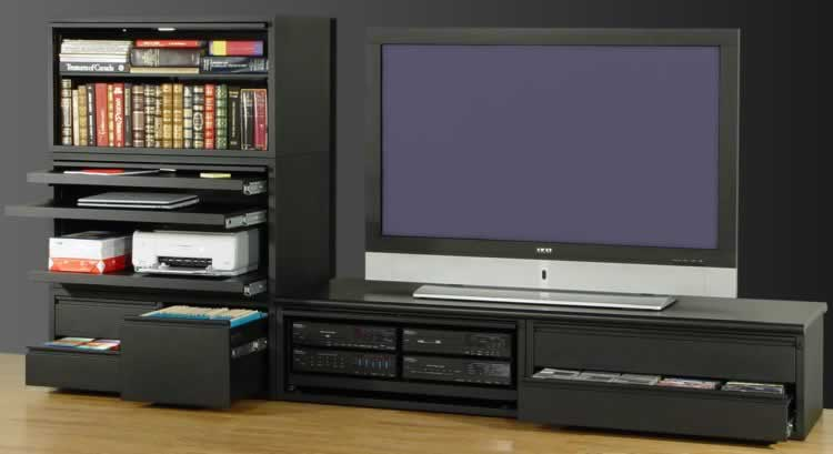 A complete media center, featuring storage for all your media, as well as your computer and home theater components.